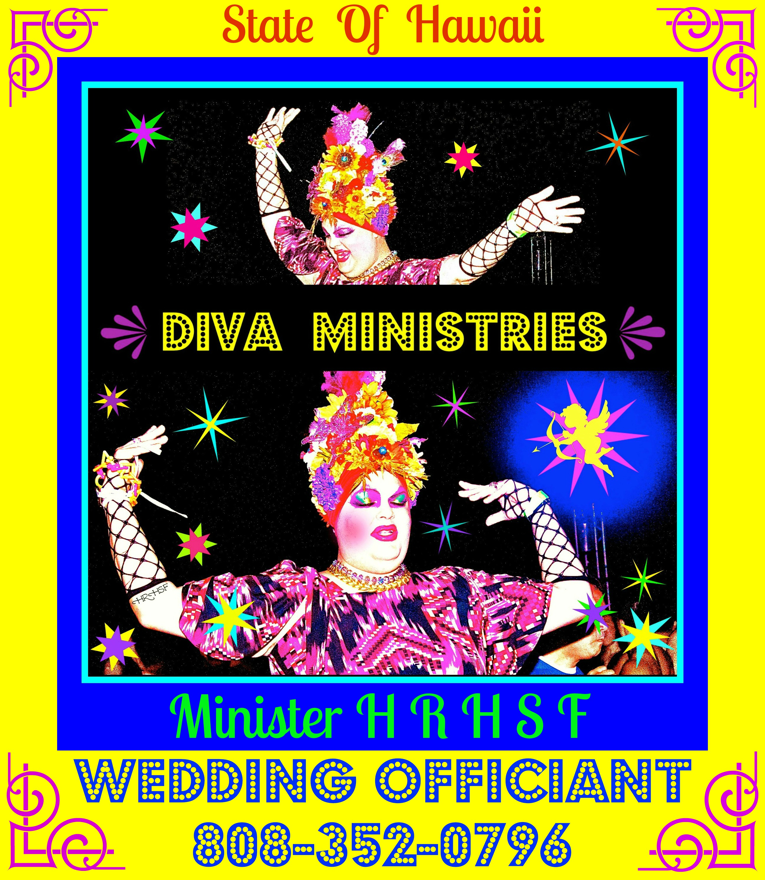 Hawaii State Wedding Officiant, Minister HRH-SF