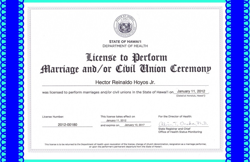 Hawaii State License To Marry / Civil Union