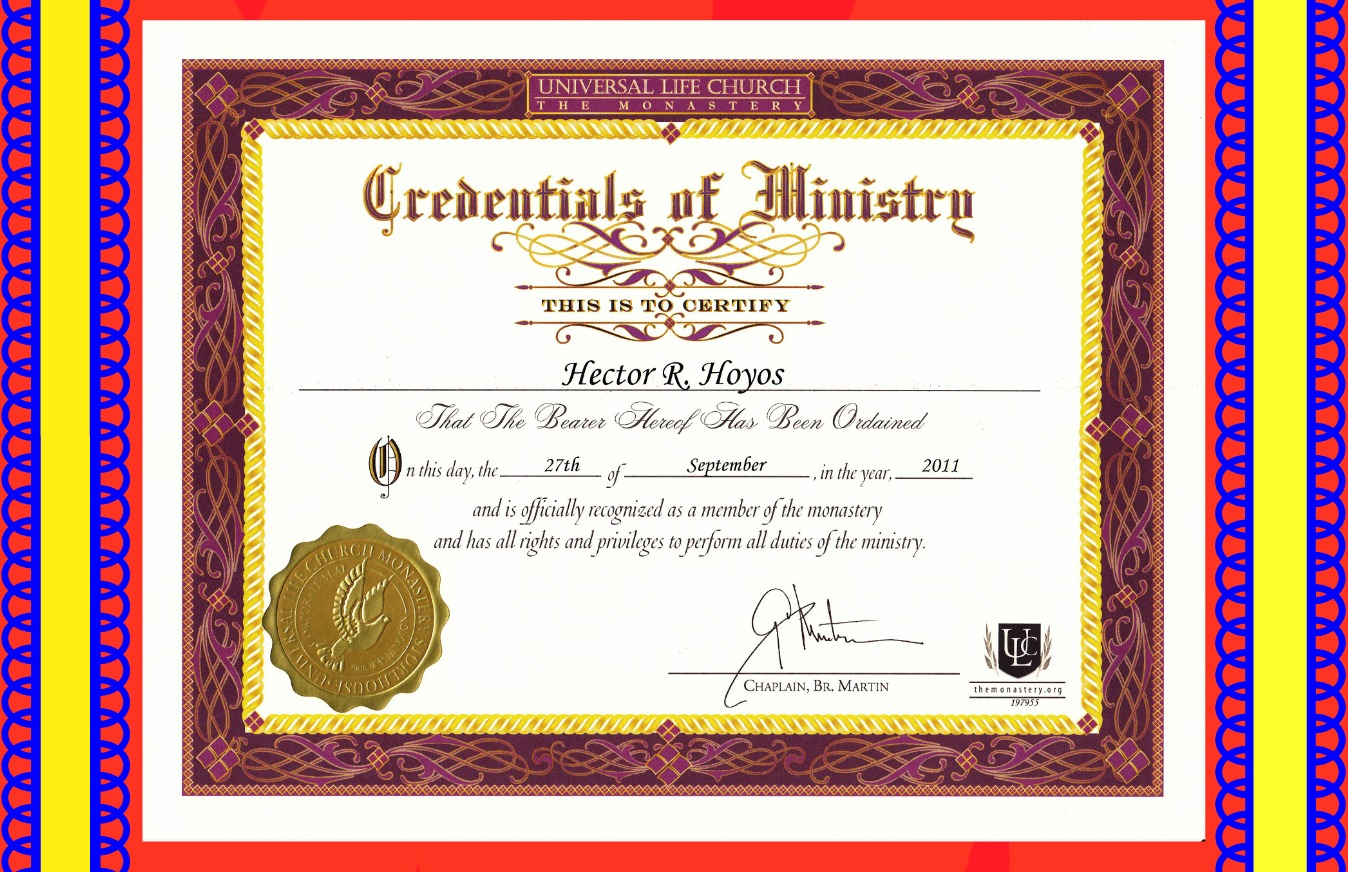 Certificate Of Ordination, From My Church, Universal Life Church